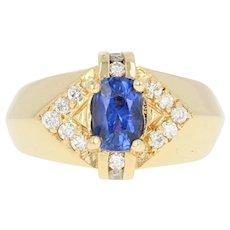 Men's Sapphire & Diamond Ring - 18k Yellow Gold Oval Brilliant 1.80ctw