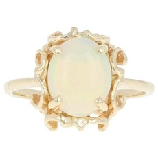 Opal Solitaire Ring - 14k Yellow Gold Cabochon Size 6 1/2 - 6 3/4