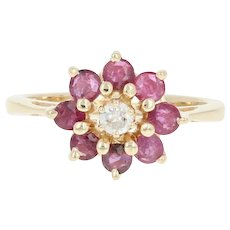 Floral Ruby & Diamond Halo Ring -14k Yellow Gold Cluster Round Brilliant 1.03ctw
