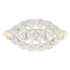 Vintage Floral Ring - 14k Yellow Gold Diamond Accents Size 6 1/4