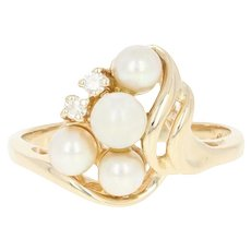 Cultured Pearl & Diamond Bypass Ring - 14k Yellow Gold Women's Size 6 1/2