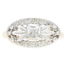 Vintage Floral Bow Ring - 10k Yellow & White Gold Diamond Accent Size 3 1/2