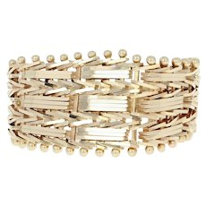 Tapered Woven Mesh Ring - 14k Yellow Gold Women's Size 7
