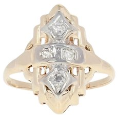 Vintage Diamond-Accented Ring - 14k Yellow Gold Size 5 1/4