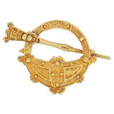 Antique Irish Brooch - 18k Yellow Gold Tara-Inspired Celtic Design 1906
