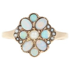 Victorian Opal & Seed Pearl Ring - 10k Rose Gold Antique Size 6 Cabochons
