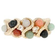 Multi-Gemstone Bead & Glass Ring - 14k Yellow Gold Onyx Pink Opal Jadeite Jade