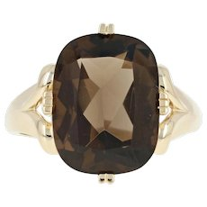 Smoky Quartz Cocktail Ring - 14k Yellow Gold Solitaire Cushion Brilliant 8.75ct