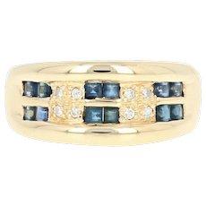 Sapphire & Diamond Ring - 18k Yellow Gold Step Cut Rectangle .74ctw