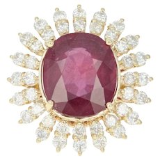 Ruby & Diamond Halo Cocktail Ring - 14k Yellow Gold GIA Oval Cut 17.69ctw