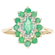 Emerald & Diamond Halo Ring - 14k Yellow Gold Marquise Brilliant .77ctw