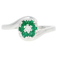 Floral Emerald & Diamond Halo Bypass Ring -14k White Gold Round Brilliant .34ctw
