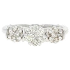 Diamond Engagement Ring - 14k Gold Illusion Three-Stone Round Brilliant .60ctw