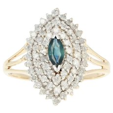 Sapphire & Diamond Cocktail Ring - 10k Yellow Gold Marquise .70ctw Size 7 3/4