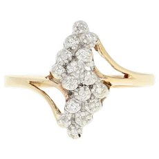 Diamond-Accented Cluster Bypass Ring - 10k Yellow Gold Size 6 1/4