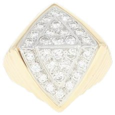 Geometric Diamond Cluster Ring - 14k Yellow Gold Milgrain Round Cut 1.00ctw