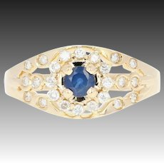 Sapphire & Diamond Halo Ring - 14k Yellow Gold Round Brilliant .55ctw