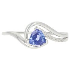 Tanzanite & Diamond Bypass Ring - 10k White Gold Trillion Brilliant .47ctw
