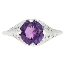 Vintage Amethyst Solitaire Ring - 10k White Gold Filigree Round 1.10ct