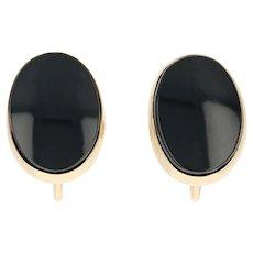 Onxy Stud Earrings - 14k Yellow Gold Non-Pierced Screw-On Backs