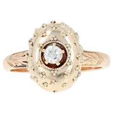 Vintage Diamond-Accented Ring - 12k Yellow Gold Etruscan Design Size 4 1/2
