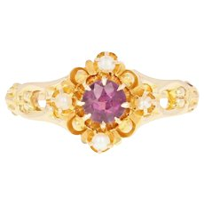 Victorian Glass & Garnet Doublet & Seed Pearl Ring - 10k Yellow Gold Antique