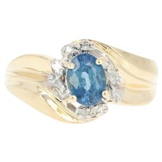 Sapphire & Diamond Bypass Ring - 14k Yellow Gold Oval Brilliant 1.08ctw
