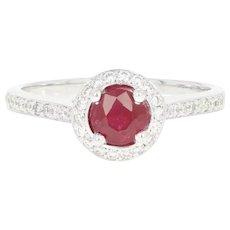 Ruby & Diamond Halo Ring - 14k White Gold Cathedral Milgrain Round Cut .74ctw