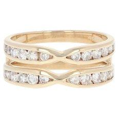 Diamond Enhancer Wedding Band - 14k Yellow Gold Wrap Ring Round Cut 1.00ctw