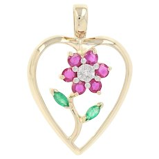 Ruby, Emerald, & Diamond Floral Heart Pendant - 14k Gold Round Brilliant .67ctw