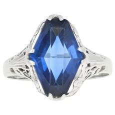 Art Deco Synthetic Sapphire Ring - 18k Gold Vintage Filigree Solitaire Size 5