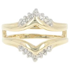 Diamond Enhancer Wedding Band - 14k Gold Ring Jacket Wrap Single Cut .12ctw