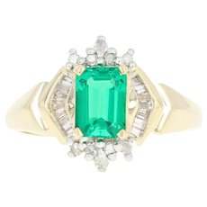 Synthetic Emerald & Diamond Ring - 14k Yellow Gold 1.08ctw