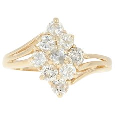 Diamond Cluster Bypass Ring - 14k Yellow Gold Round Brilliant .90ctw