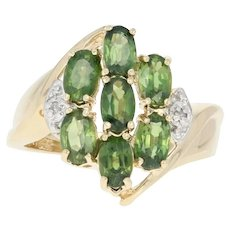 Green Sapphire & Diamond Cluster Bypass Ring - 14k Gold Oval Brilliant 2.26ctw