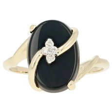 Onyx & Diamond Bypass Ring - 14k Yellow Gold Women's Size 8