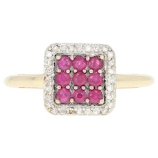 Ruby & Diamond Halo Ring - 14k Yellow Gold Illusion Solitaire .41ctw