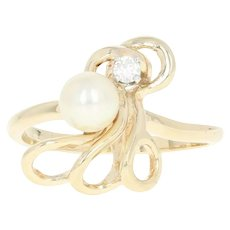 Abstract Cultured Pearl & Diamond Ring - 14k Yellow Gold Curved Round Brilliant