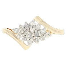 Diamond Cluster Bypass Ring - 10k Yellow Gold Round Brilliant .18ctw