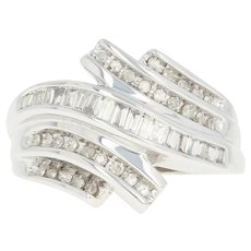 Diamond Bypass Ring - 10k White Gold Baguette .50ctw