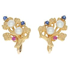 Vintage Cultured Pearl, Sapphire, & Ruby Earrings - 14k Gold Non-Pierced .53ctw