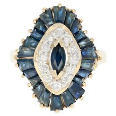 Sapphire & Diamond Double Halo Ring - 14k Yellow Gold Marquise 3.09ctw