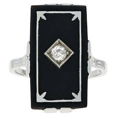 Art Deco Onyx & Diamond Ring - 18k White Gold Vintage Milgrain Mine Cut .15ct