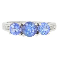 Three-Stone Tanzanite Ring - 14k Gold Diamond Accents Round Brilliant 1.34ctw