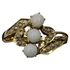 Edwardian Ostby & Barton Opal Bypass Ring - 10k Gold Seed Pearls Antique