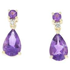 Amethyst & Diamond Drop Earrings - 10k Yellow Gold Pear Brilliant 2.63ctw