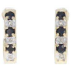 Sapphire & Diamond J-Hook Earrings - 10k Gold Pierced Round Brilliant .50ctw