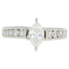 Diamond Engagement Ring - Platinum Size 4 1/2 Marquise Cut .80ctw