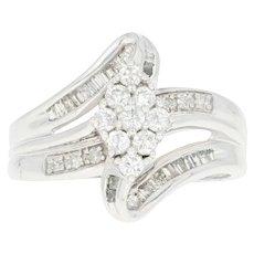 Diamond Cluster Bypass Ring - 10k White Gold Round Brilliant .55ctw