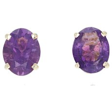 Amethyst Stud Earrings - 14k Yellow Gold Pierced Oval Brilliant 3.30ctw